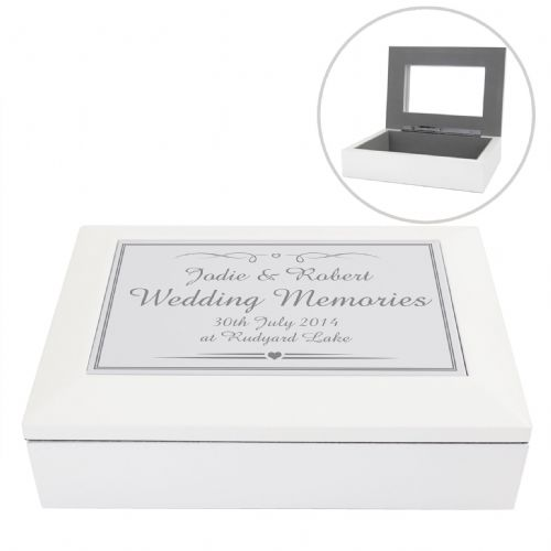 Personalised Silver Elegant Wooden Keepsake Box